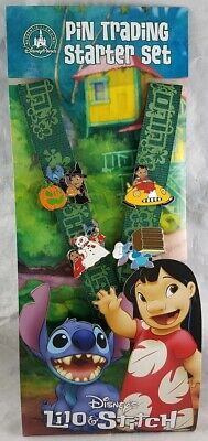 Disney Parks Lilo & Stitch Pin Trading Starter Set Lanyard Card 4 Pins - NEW