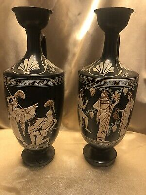 Two Black Greek Vases Pottery From Greece