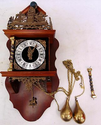 Vintage FRANZ HERMLE Weight/ Chain Driven Dutch Nu Elck Syn Sin WALL CLOCK - H53