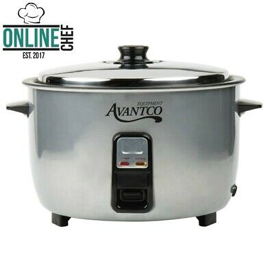 Electric Rice Cooker Warmer Silver Round Stainless Steel 46 Cups 120V 1650W
