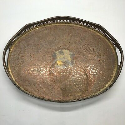 Antique Oval Scroll Edge Worn Silver Plate Serving Tray