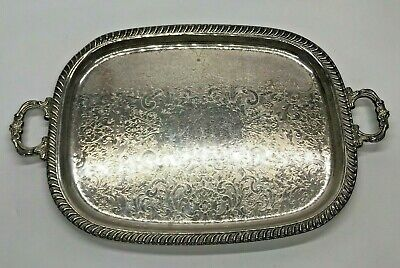 Antique Victorian Heavy Scroll Edge Two Handle Silver Plate Serving Tray