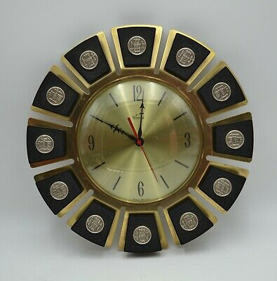 Smiths Timecal - Vintage Wall Clock - 1960s with Castle/Fort Pattern