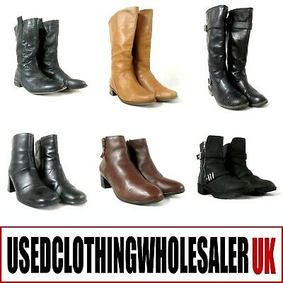 20 Pairs Women's Boots Used Fashion Footwear Winter Job Lot Wholesale