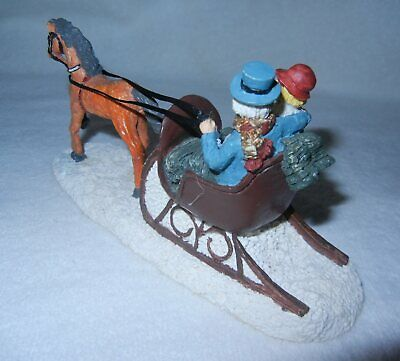 "Couple In A Brown Sleigh Pulled By Light-Brown Horse Village Accessory 6 1/2""W"
