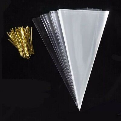 Sweet Cone Bags&Ties Clear Cellophane Large 37x18cm BirthdayParty Sweets Wedding