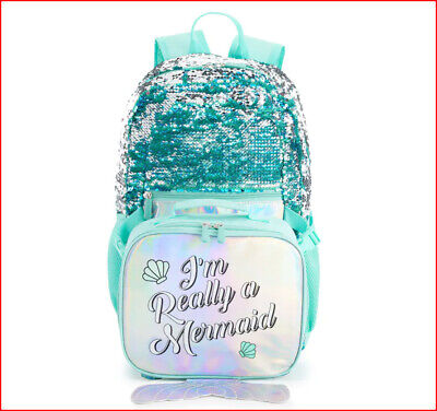 """BLUE Glittery Sequins MERMAID Large 17"""" BACKPACK + LUNCH BOX Bag Sparkly 🌟NEW🌟"""