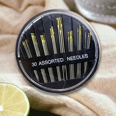 30pcs Assorted Hand Sewing Needles Embroidery Mending Craft Quilt Case Sewing UK