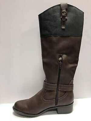 Brown Size 10.0 US // Rampage Womens ivelia Almond Toe Knee High Riding Boots
