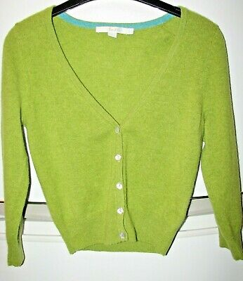 BODEN GREEN CASHMERE BUTTON UP CARDIGAN size UK 6 £1.99