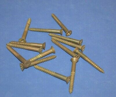 """14 #12 x 2"""" Phillips Flat Head Red Brass Wood Screws Aged Look Pre Owned"""