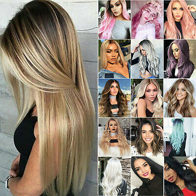 Womens Gold Blonde Brown Long Straight Curly Hair Wigs Party Cosplay Ombre Wig