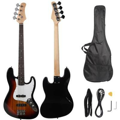 New Electric GJazz 4 Strings Bass Guitar + Cord + Wrench +Bag +Pick Sunset
