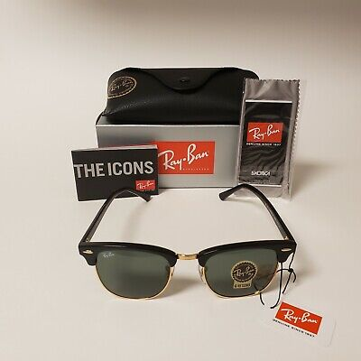 Ray Ban Clubmaster Sunglasses Black Gold Frame and G15 Lens Classic Style
