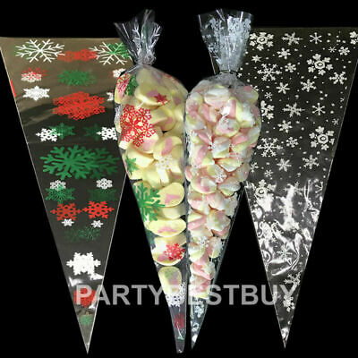50 Christmas Cello Party Loot Bags Sweet Cone Snowflake Candy Cellophane gold
