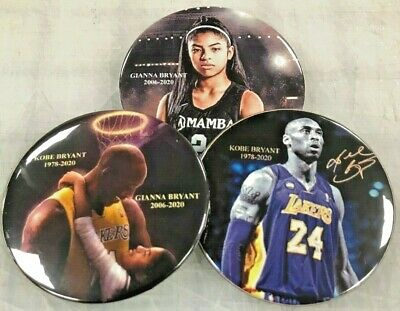 """KOBE & GIANNA BRYANT COLLECTABLE BUTTONS Set of 3 pinback button badge 2.25"""""""