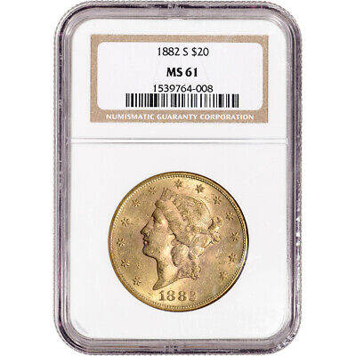 1882 S US Gold $20 Liberty Head Double Eagle - NGC MS61