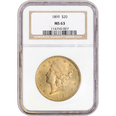 1899 US Gold $20 Liberty Head Double Eagle - NGC MS63