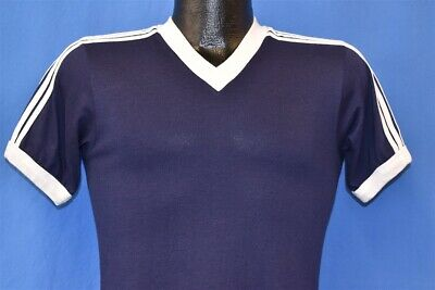 vintage 80s ADIDAS BLUE WHITE STRIPED RINGER TREFOIL LOGO USA t-shirt YOUTH XL