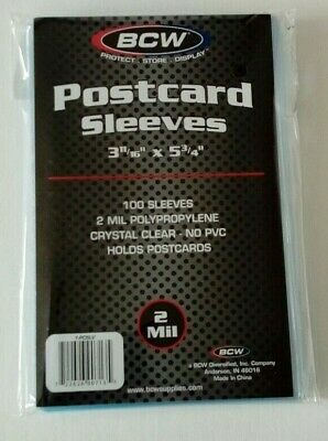 Postcard Sleeves 100 crystal clear thin for Standard Size antique storage BCW