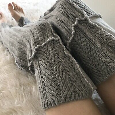 Womens Plus Size Gray Leg Warmers Thigh Highs Sweater Cable Knit Knee Socks Warm