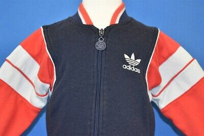 vintage 80s ADIDAS BLUE RED GRAY STRIPED ZIP UP TRACK WARM UP KIDS JACKET 3T