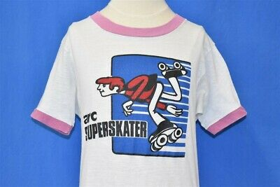 vintage 70s ARC SUPER SKATER ROLLER SKATE WHITE RINGER t-shirt YOUTH LARGE YL