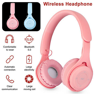 Bluetooth 5.0 Headset Wireless Stereo Girls Headphones Over Ear Noise Cancelling
