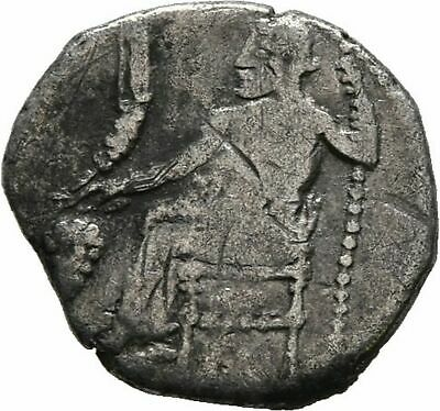 RARE Ancient Greece 4 cent BC CILICIA AR OBOL BAALTARS GRAPE EAGLE PLOW #2