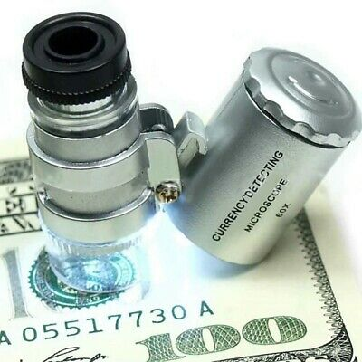 60X Magnifying Loupe Jewelry Jewelers Pocket Magnifier Loop Eye Glass Led Light