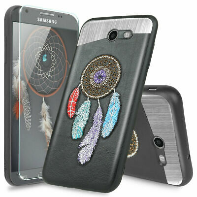 For Galaxy J7 Prime/Sky Pro/Perx/V 2017/Halo Case Magnetic Suport+Tempered Glass