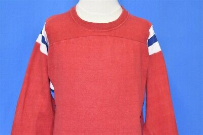 vintage 70s BLANK RED STRIPED BLUE WHITE MASON JERSEY FADED t-shirt YOUTH LARGE