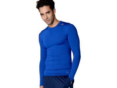 BNWT Adidas AJ5019 Techfit Base Layer Long Sleeve Blue Compression Tee S M L XL