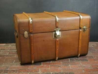 Stunning Tall Wood & Brass Banded Antique Steamer Trunk