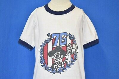 vtg 70s BICENTENNIAL 1976 EAGLE FLUTE RED WHITE BLUE RINGER t-shirt YOUTH LARGE