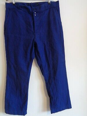 Vtg 60s French indigo blue work worker chore pants trousers