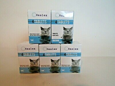 NEW SEALED Healex Cat Dewormer Tablets, 4 Tablets, lot of 5 boxes Exp 10/3/22