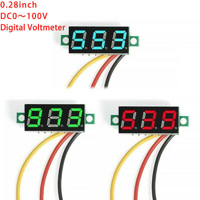 DC 0-100V Wires LED 3-Digital Mini Voltmeter Meter Display Voltage Panel US