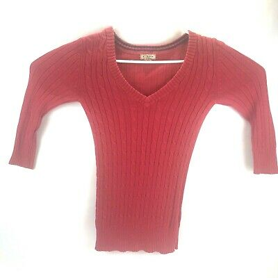Arizona Jeans Company Womens Vneck Sweater Pink Size Large