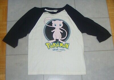 RARE Vintage 1999 Pokemon MEW T-Shirt 3/4 Sleeve Baseball Youth L