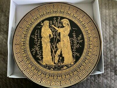 Vintage Greece Hand 24K Gold Painted Ceramic of Gods Greek ,Poseidon-Athena