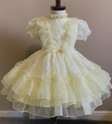 Vintage girls yellow sheer ruffle lace party dress 4T