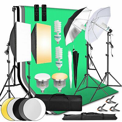135W Continuous Lighting Softbox Photography Studio Soft Box Light Stand Kit Set