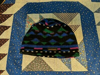 Vintage Mambosok multicolor geometric pattern fleece hat, made in usa