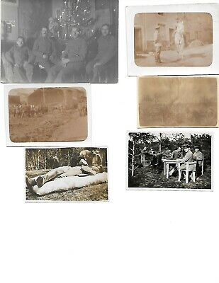 6x diff WW1 GERMAN Real Photos SOLDIERS IN UNIFORM GROUP POSE lot HISTORY #7