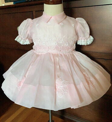 Vintage girls 1950's  pink Sheer  Flowers Embroidered Lace Circle dress