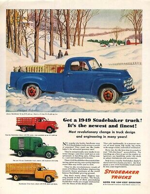 8 pages Vintage ORIGINAL 1949 Studebaker truck Pick-Up Magazine Ads french