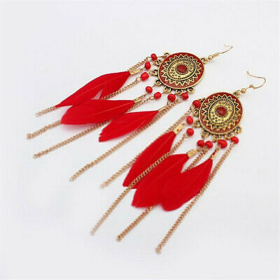 Women Fashion Earrings Round Pendant Bohemian Red Long Feather Tassel Jewelry