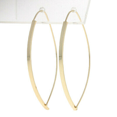 Yellow Gold Threader Earrings - 14k Curved Pierced Dangles