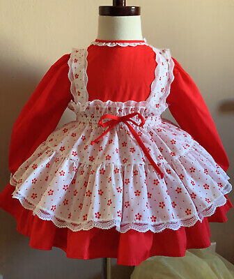Vintage girls 2 piece flower pinafore red dress 2T